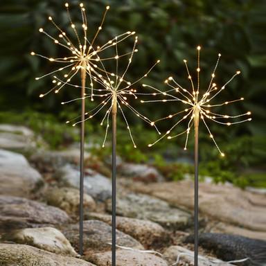 LED Dekorative Erdspiessleuchte Firework 3er-Set in Silber mit tageslichtweissem Licht
