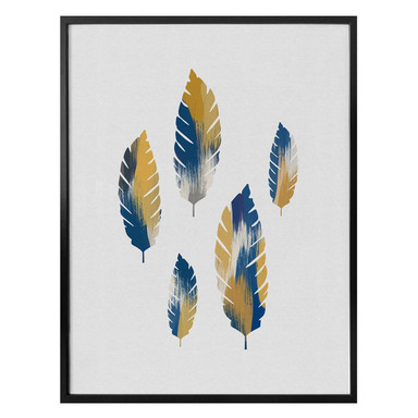 Poster Orara Studio - Leaves Blue and Yellow