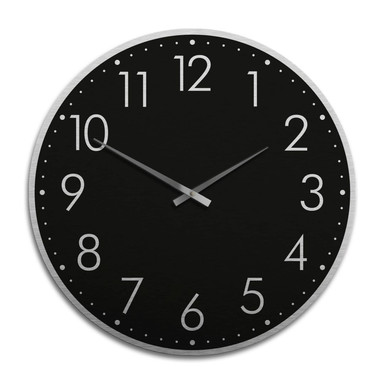 XXL Wanduhr Alu Dibond Silbereffekt - Modern mit Minutenanzeige - negativ Ø 70cm - Bild 1