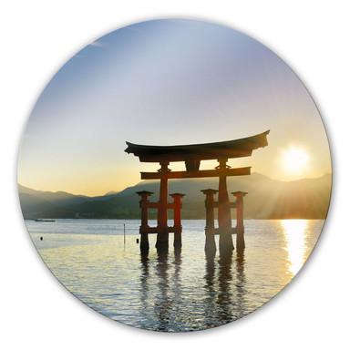 Glasbild Itsukushima Schrein - rund