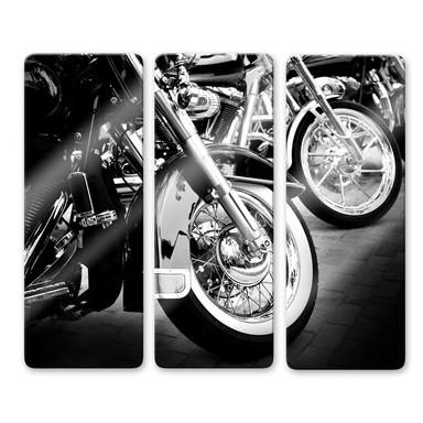 Glasbild Motorcycle Wheels (3-teilig)