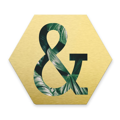 Hexagon - Alu-Dibond Goldeffekt - Urban Jungle Et-Zeichen 02