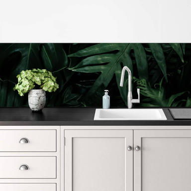 Küchenrückwand Dunkelgrüne Dschungelpflanzen