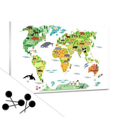 Pinnwand Tierische Kinder Weltkarte