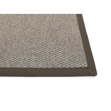 Saba Wollweb 3cm Bordürenteppich | Wunschmass | Rechteckig | Stone | Coffee 66