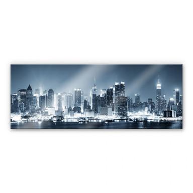 Acrylglasbild New York at Night 1 - Panorama