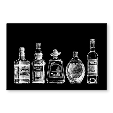 Glasbild 5 Flaschen voll Spass - schwarz