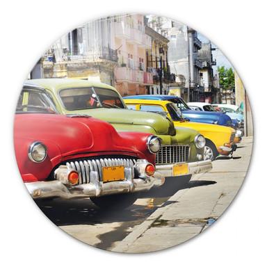Glasbild Cuba Oldtimer Cars - rund