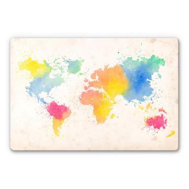 Glasbild Weltkarte - Watercolour