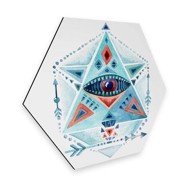 Hexagon - Alu-Dibond - Kvilis - Blaues Prisma