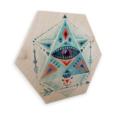 Hexagon - Holz Birke-Furnier - Kvilis - Blaues Prisma