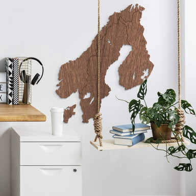 Holzkunst Mahagoni Furnier - Karte Skandinavien