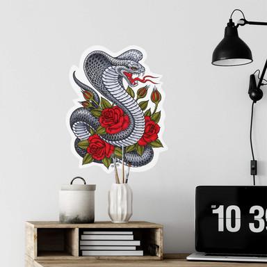 Wandsticker Miami Ink Kobra mit Rosen