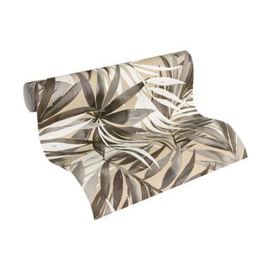 Designdschungel by Laura N. Vliestapete mit Palmenprint Dschungel Tapete beige, braun, weiss