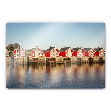 Glasbild Ferienhäuser am Meer