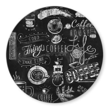 Glasbild World of Coffee - Rund