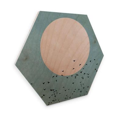 Hexagon - Holz Birke-Furnier - Kubistika - Mondschein