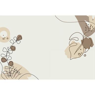 Livingwalls Fototapete ARTist Drawn Leaves mit gezeichneten Blättern beige, braun, creme - Bild 1