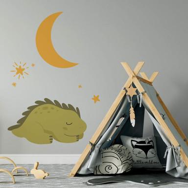 Wandtattoo Schlummernder Dino unter dem Sternenhimmel