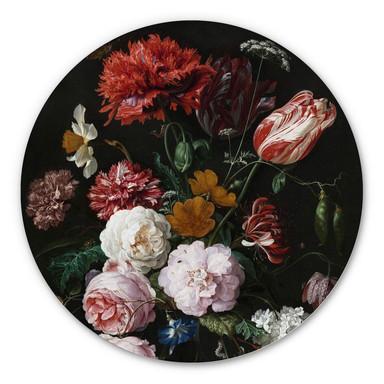 Alu-Dibond Heem - Stillleben mit Blumen in einer Glasvase - Rund