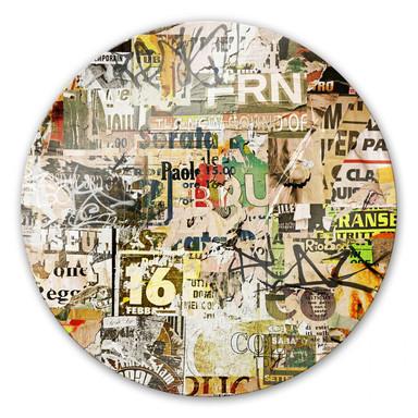 Glasbild Abgerissene Poster - rund