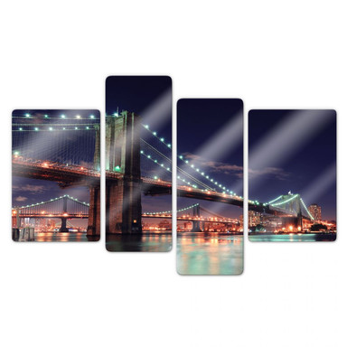 Glasbild Manhattan Bridge at Night 2 (4-teilig)
