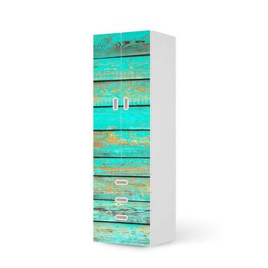 Klebefolie IKEA Stuva / Fritids - 3 Schubladen und 2 grosse Türen - Wooden Aqua- Bild 1