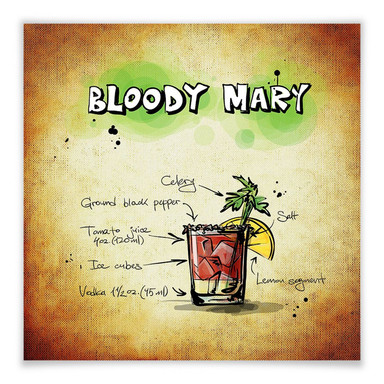 Poster Bloody Mary - Rezept