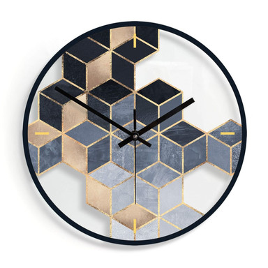 Wanduhr aus Glas - Fredriksson - Blaue Geometrie Ø30cm - Bild 1
