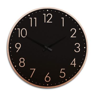 XXL Wanduhr Alu Dibond Kupfereffekt - Modern mit Minutenanzeige negativ Ø 70cm - Bild 1