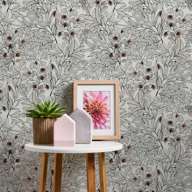 A.S. Création Vliestapete Geo Nordic Blumentapete floral, beige, rosa