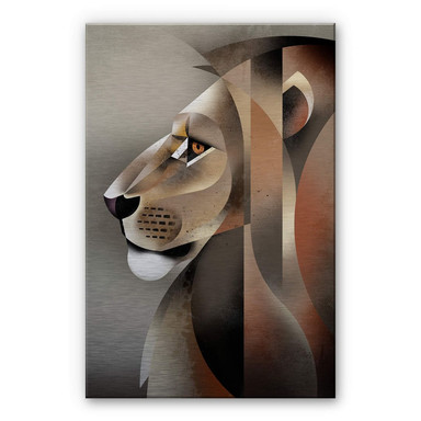 Alu-Dibond-Silbereffekt - Braun - Lion