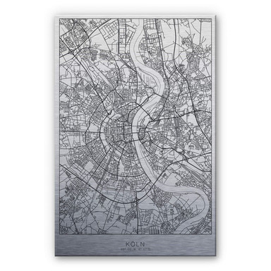 Alu-Dibond-Silbereffekt Stadtplan Köln