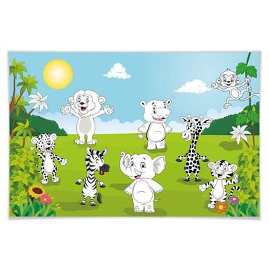 Giant Art® XXL-Poster Happy Animals - 175x115cm - Bild 1