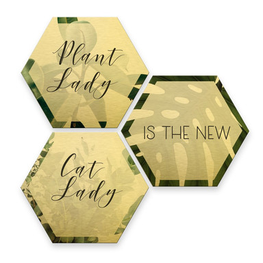 Hexagon - Alu-Dibond-Goldeffekt - Plantlady is the new Catlady (3er Set)