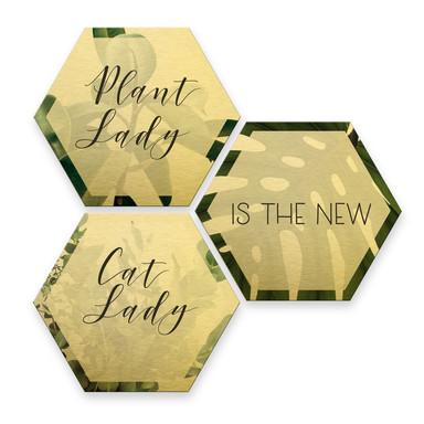Hexagon - Alu-Dibond-Goldeffekt - Plantlady is the new Catlady (3er Set)