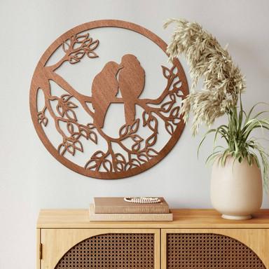 Holzdeko Mahagoni - Zwei Vögel sitzen auf dem Ast - Rund