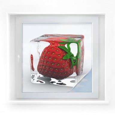 Sichtschutzfolie Erdbeereiswürfel - quadratisch