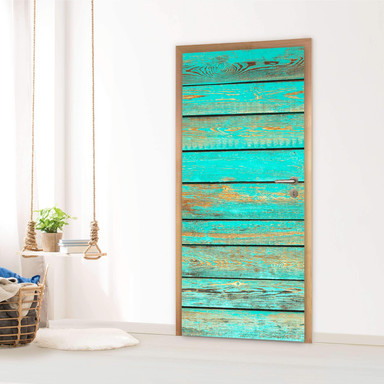 Türfolie - Wooden Aqua