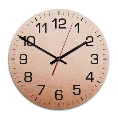 Wanduhr Alu Dibond Kupfereffekt - Klassisch mit Minutenanzeige -Ø 28cm - Bild 1
