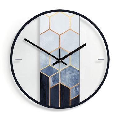 Wanduhr aus Glas - Fredriksson - Hexagone: Blau und Weiss Ø30cm - Bild 1
