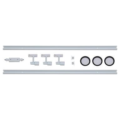 famlights | 1-Phasen Schienensystem-Set in Weiss und Schwarz 2 Meter inkl. 3 Spots inkl. Leuchtmittel