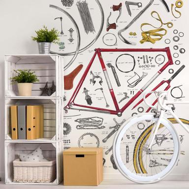 Fototapete Sparshott - Aufbau eines Fahrrads - Bild 1