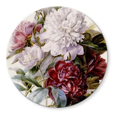 Glasbild Redouté - Strauss von roten, lila und weissen Pfingstrosen - Rund