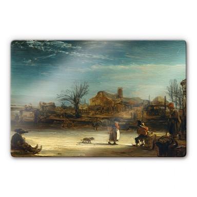 Glasbild Rembrandt - Winterlandschaft
