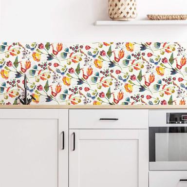 Küchenrückwand - Alu Dibond - Blanz - Blumen und Vögel