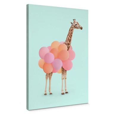 Leinwandbild Fuentes - Giraffe und Ballons