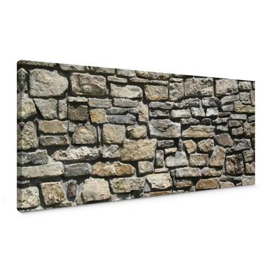 Leinwandbild Natursteinmauer Panorama