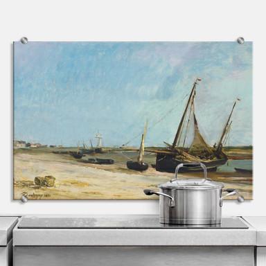 Spritzschutz Daubigny - Boote am Strand von Ètaples