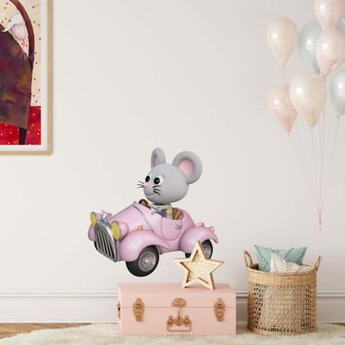 Wandtattoo Agullo - Maus im rosa Auto